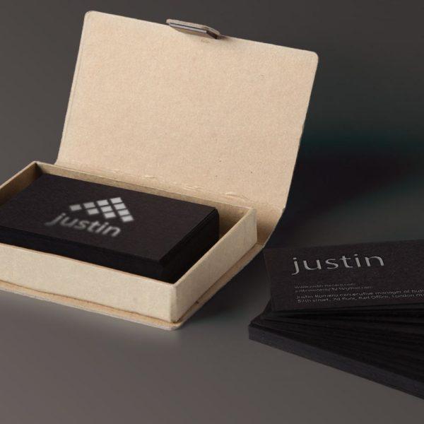 Duplex matte black paper for a perfect business card.