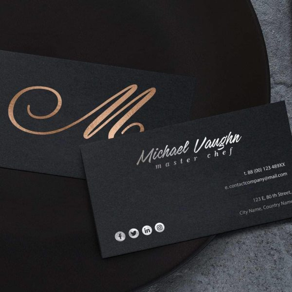 Business card with bronze details.