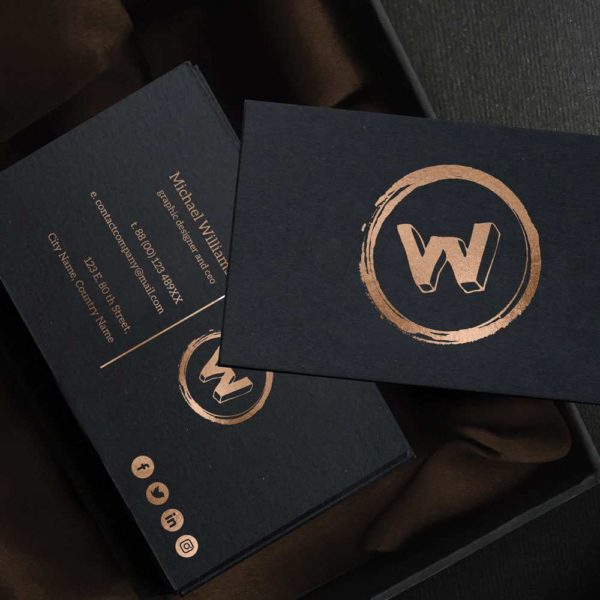 Duplex skin paper bronze business card.